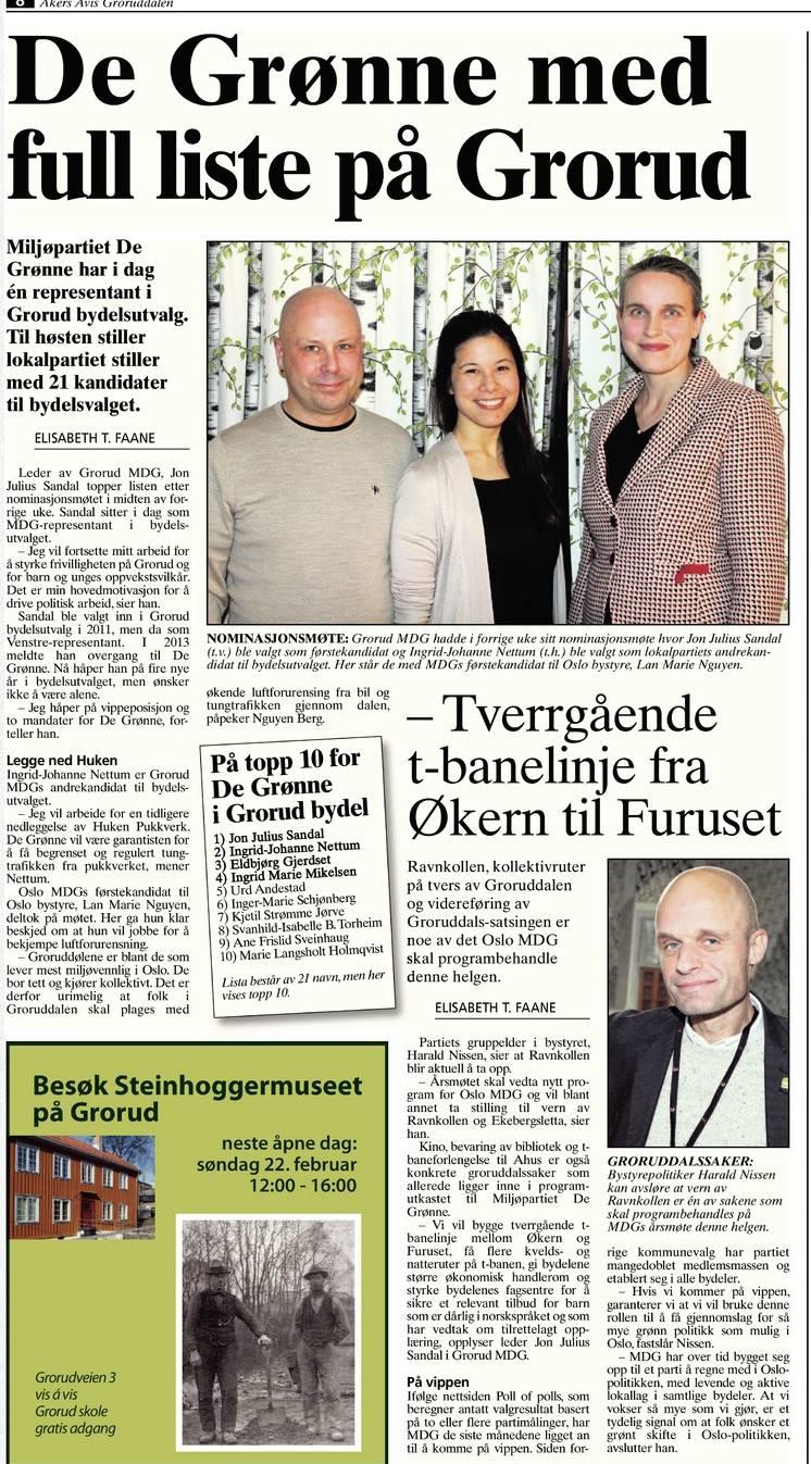 Faksimile fra Aker Avis Groruddalen 20. februar 2015.